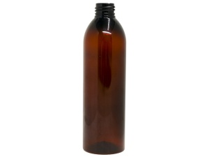 300ml Cylinder Round Amber PET Plastic Bottle, Slim