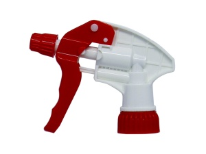 White Chemical Resistant Trigger Sprayer with Red Nozzle Cap