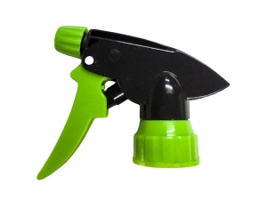 Black Chemical Resistant Trigger Sprayer with Green Nozzle Cap