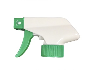 Durable White Trigger Sprayer with Green Nozzle Cap