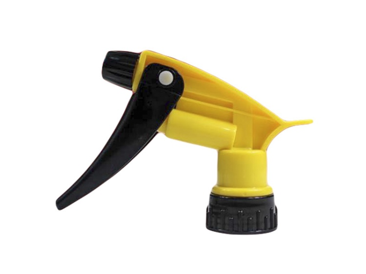 Yellow Chemical Resistant Trigger Sprayer with Black Nozzle Cap