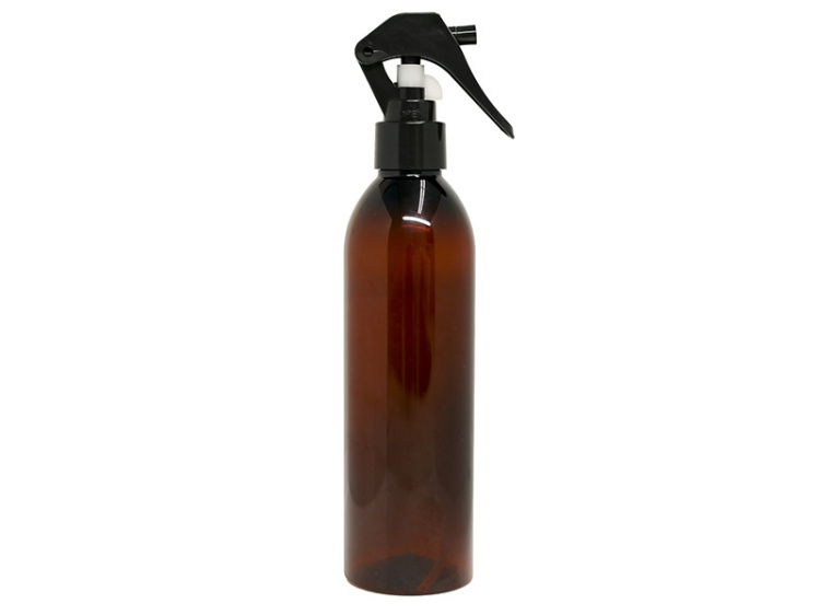 Amber PET Spray Bottle 300ml with Easy Mini Black Sprayer