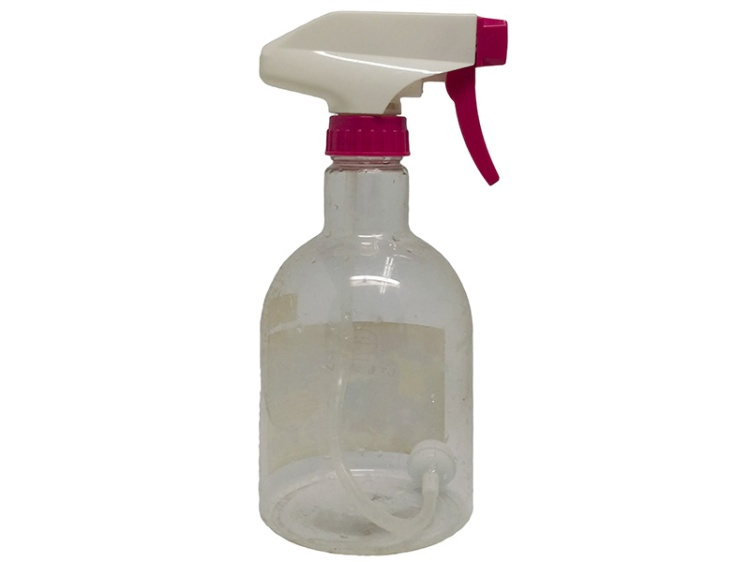 Clear PET Spray Bottle 450ml with Pink White Sprayer, Upside down, Swing series